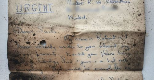 Chimney sweep finds adorable letter to Father Christmas written years ago