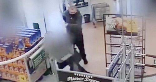 Elderly Morrisons shopper kicked to floor by man in hoodie