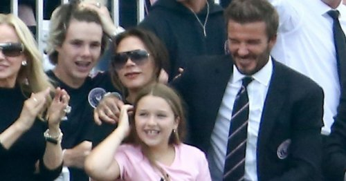 David Beckham cuddles daughter as his football team clashes with old club