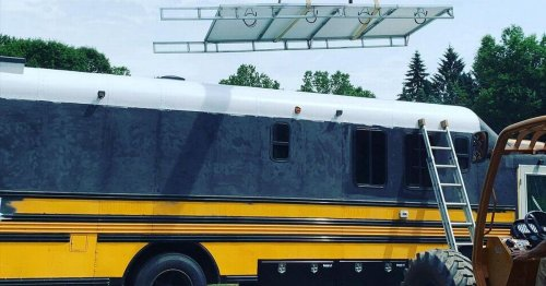 Man converts school bus into plush pad after losing job and fiancé in pandemic