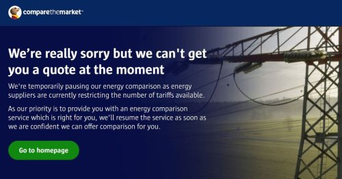 Compare the Market switch off energy comparison tool due to lack of cheap deals