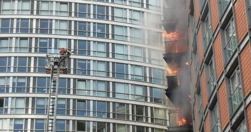 Huge fire at high-rise block with similar cladding to Grenfell Tower