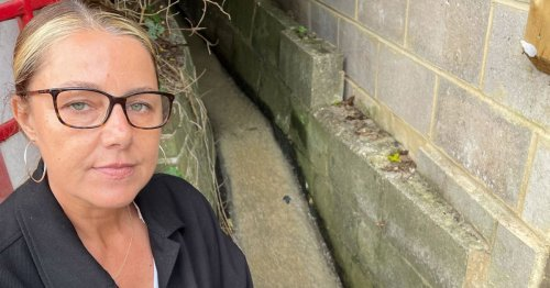 Woman living with gushing 'open sewer' by home with raw sewage attracting rats