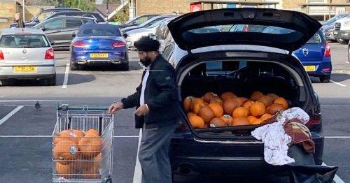 Shopper caught 'stockpiling pumpkins' outside Morrison's ahead of Halloween