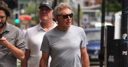 Hollywood star Harrison Ford goes for a stroll around Newcastle