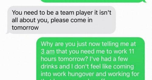 Bartender sends brutal response as he quits job after boss texts him at 3am