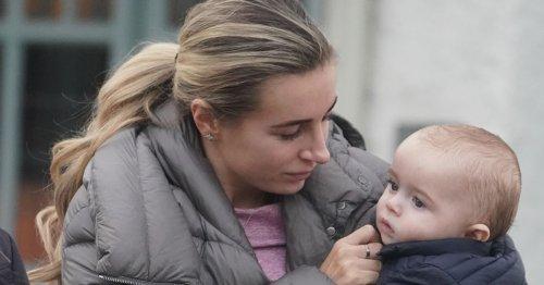 Dani Dyer cuddles son Santi after West Ham's rude chant about love life