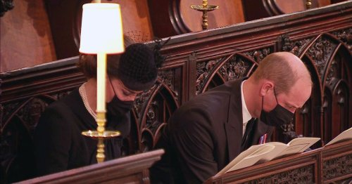 Harry and William sit opposite each other at Prince Philip's funeral service