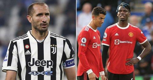 Giorgio Chiellini's views contrast on Man Utd's Cristiano Ronaldo and Paul Pogba
