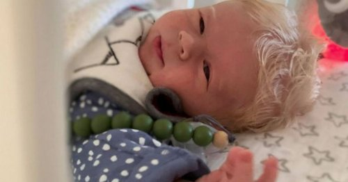 Baby born with full mop of snow-white hair surprises medics and midwives