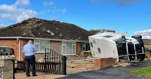 Tornado rips through UK village damaging homes and overturning caravan
