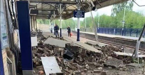 Railway station roof collapses sending shower of debris across platform