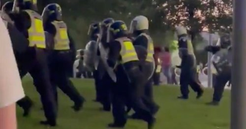 Riot police pelted with bottles near London Eye as they march on crowd in park
