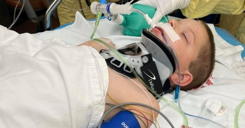 Boy, 6, fighting for life after lawn mower threw piece of steel into his head