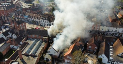 Pub seen on fire in dramatic drone footage with billowing smoke filling the sky