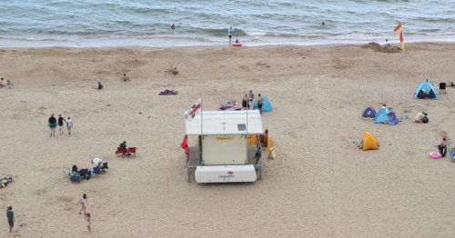 British beach evacuated after 'large shark' spotted swimming yards from shore