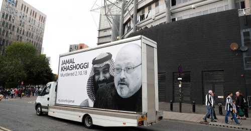 Protestors against Newcastle takeover unveil billboard at St James' Park