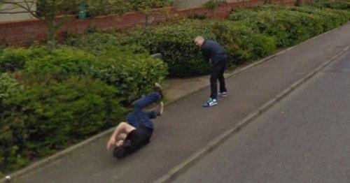Google Earth user spots two men 'scrapping' in brawl on deserted UK street
