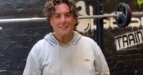 James Argent's trimmed down figure as he poses in the gym after five stone loss