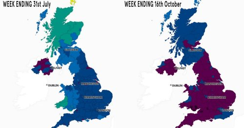UK Covid case maps show how virus has exploded since Freedom Day back in July