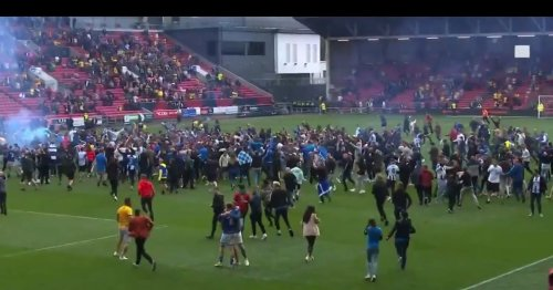 Fans clash with players in ugly scenes as Hartlepool beat Torquay in Play-Offs