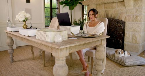 Meghan gives glimpse inside her office with £1,200 blanket and healing crystal