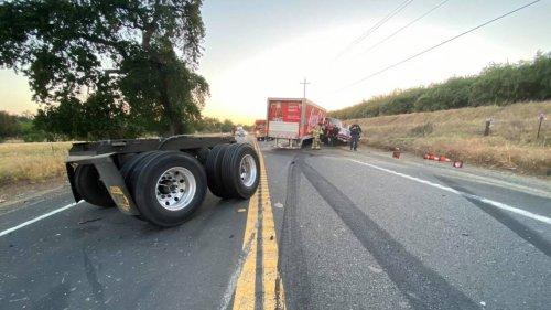 Jackknifed Coca-Cola truck closes portion of Highway 108 east of Oakdale