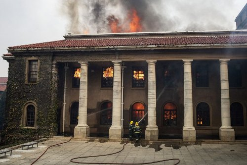 UCT campus salvaging books from burned library