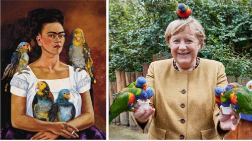 Als Angela Merkel aus Versehen ein Frida-Kahlo-Porträt nachstellte