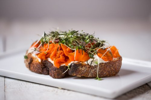 Roots + Fruits Smoked Carrot Lox Toast Recipe