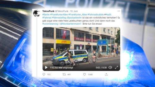 Friedrichshain: Polizist parkt auf Radspur: Video sorgt für Empörung