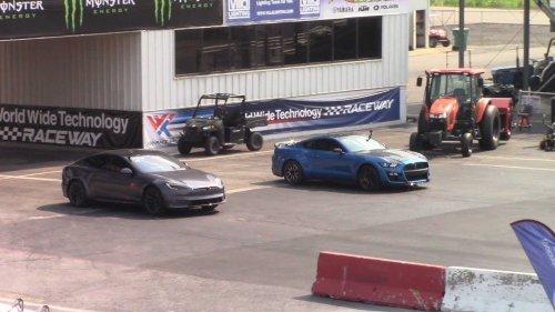 Watch Tesla Model S Plaid Vs Shelby GT500 In Rolling Start Races
