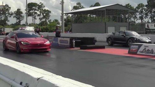Tesla Model S Plaid Has Drag Race Battle With Porsche Taycan Turbo S