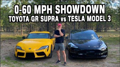 Watch Tesla Model 3 Standard Range race Toyota GR Supra 2.0