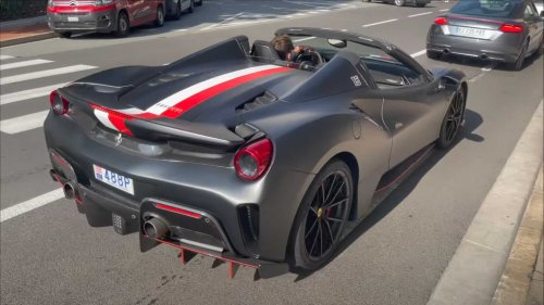 Ferrari F1 driver Charles Leclerc seen driving custom 488 Pista
