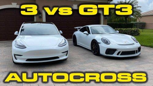 Watch Porsche 911 GT3 challenge Tesla Model 3 Performance in autocross