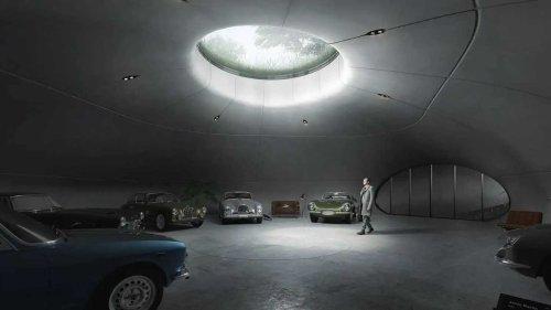 This subterranean garage design looks like a Bond villain's lair