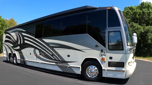 Bonkers luxury motorcoach has two bathrooms and a basement bedroom