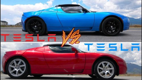 Watch two Tesla Roadsters compete in a top speed attempt