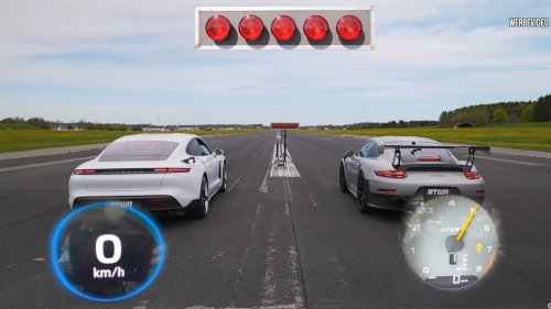 Porsche Taycan Turbo S Vs GT2 RS Drag Race Ends In Photo Finish