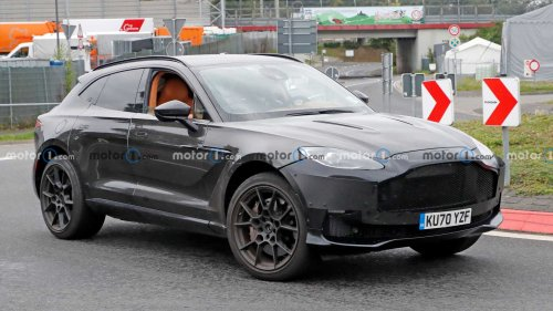 Aston Martin DBX spied on the 'Ring flaunting refreshed front fascia