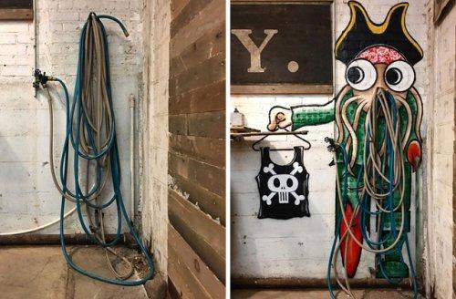 Художник создает объекты стрит-арта из дорожных люков и водосточных труб