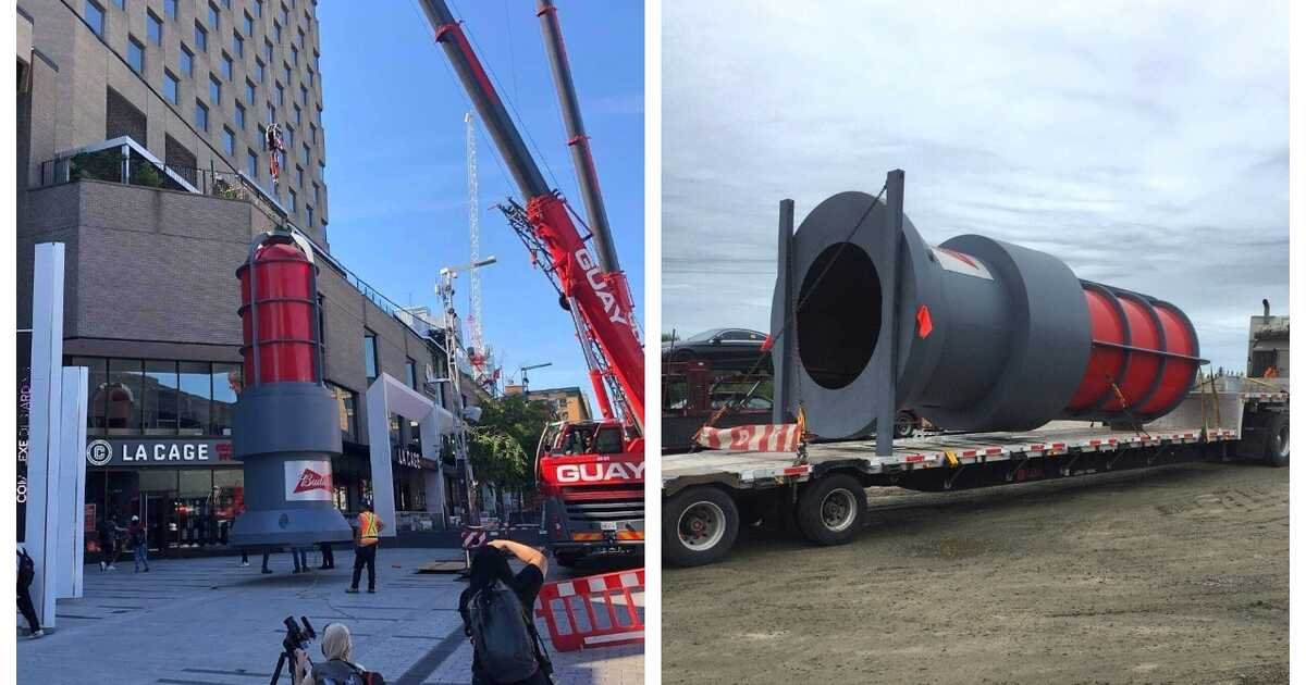 A Giant 20-ft Red Light Was Just Installed In Downtown Montreal & Here's Why