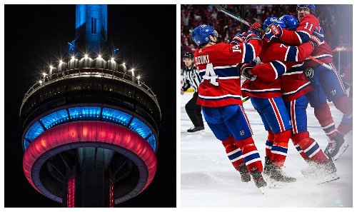Toronto's CN Tower Lit Up To Celebrate The Habs & Leafs Fans Are Pissed