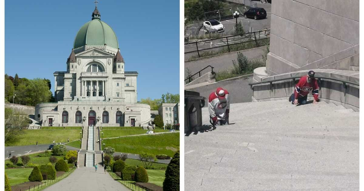 Habs Fans Were Spotted Crawling Up The Montreal Oratory Steps On Their Knees