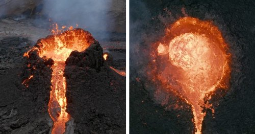Photographer's Drone Melts Capturing an Incredible Aerial Shot of a Volcanic Eruption