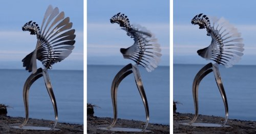 Human-Sized Kinetic Sculpture Dances in the Wind With Hypnotic Grace