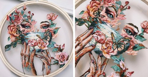 Ethereal Embroideries Stitched on Transparent Tulle Gracefully Float In Wooden Hoops