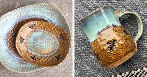 """Artist Combines Her Love of Bees and Seas Through Beautiful """"Honeycomb Ceramics"""""""