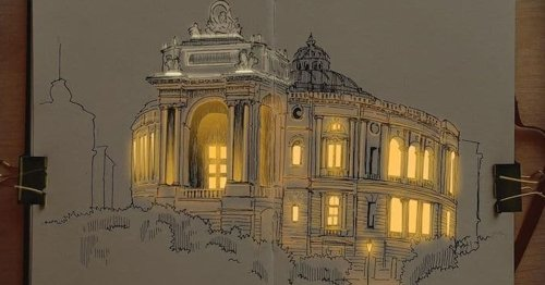 Artist Creates Architectural Drawings That Look Like They're Illuminated With Real Lights